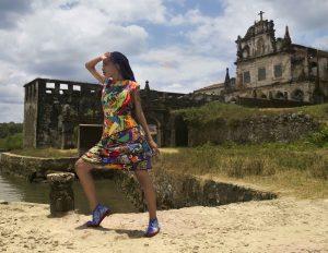 Coleção VOZES: Moda e Ancestralidades. Fotografia: Natan Fox - Modelo: Ana Vitória – Calçados: Lu Pires