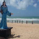 Estátua de Iemanjá é depredada em praia da Zona Leste de Natal
